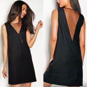 Avon V Plunging Neck Sheer Panal Dress